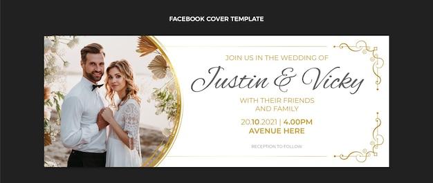 Realistische luxe gouden bruiloft facebook cover