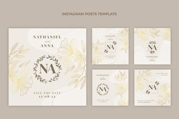 Realistische luxe gouden bruiloft instagram-berichten