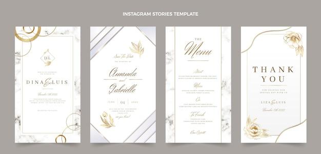 Realistische luxe gouden bruiloft instagramverhalen