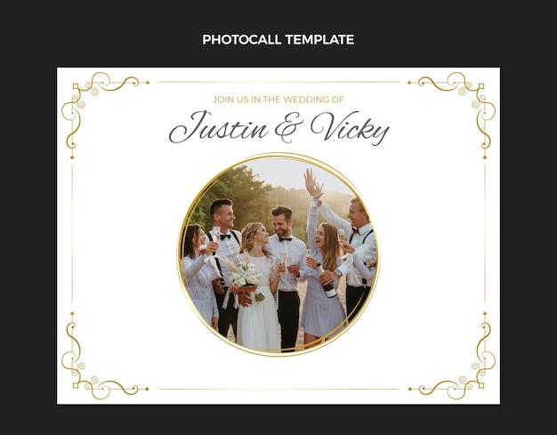 Realistische luxe gouden bruiloft photocall