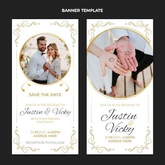 Realistische luxe gouden bruiloft verticale banners