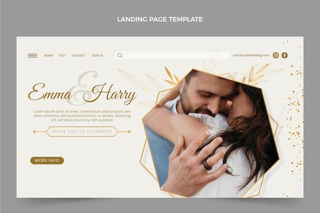 Realistische luxe gouden bruiloft websjabloon