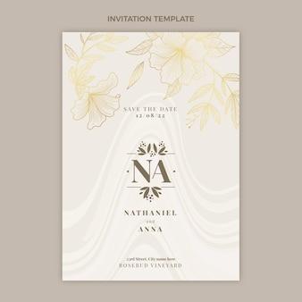 Realistische luxe gouden huwelijksuitnodiging