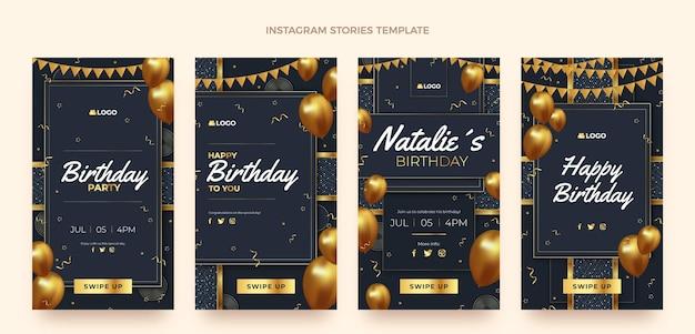Realistische luxe gouden verjaardag instagramverhalen