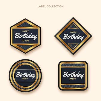 Realistische luxe gouden verjaardagslabels