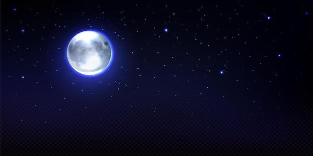 Realistische maan in de ruimte met sterren en transparantie volledige luna aarde satelliet phoebe astrologie gedetailleerd object met kraters ronde glanzende wijzerplaat met gloeiende halo op nachtelijke hemel illustratie