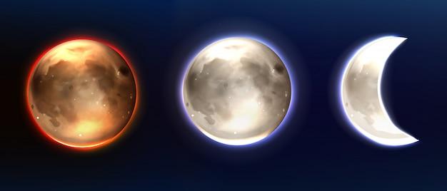 Realistische maan, volle maan en afnemende fasen.
