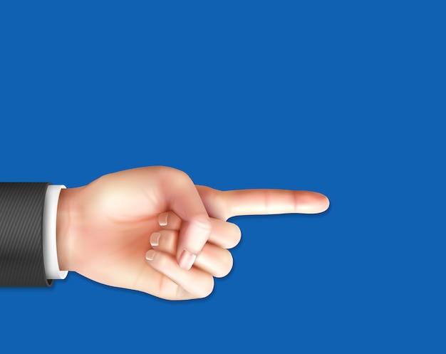 Realistische mannelijke hand met wijzende wijsvinger op blauw