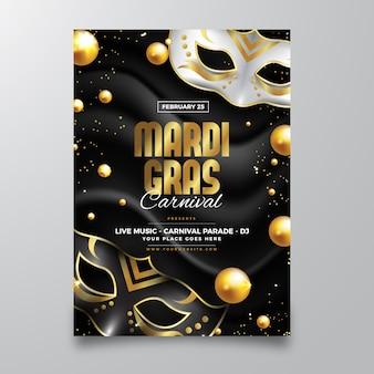 Realistische mardi gras folder sjabloon