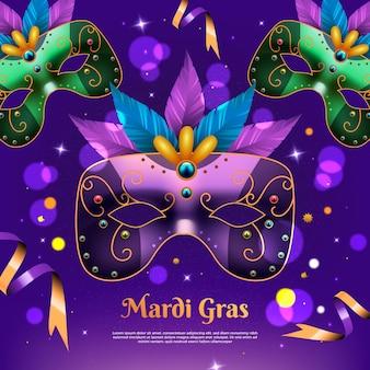 Realistische mardi gras-illustratie met kleurrijk masker