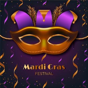 Realistische mardi gras met masker en confetti