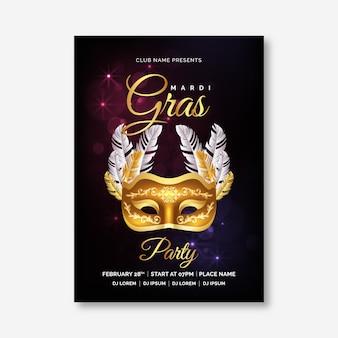Realistische mardi gras poster sjabloon