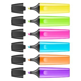 Realistische markeerstift pen pictogram set geïsoleerd. kleurrijke tekstmarkeringen.