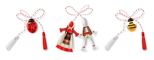 Realistische martisor rode en witte grote set met bijen, lieveheersbeestje en klederdracht