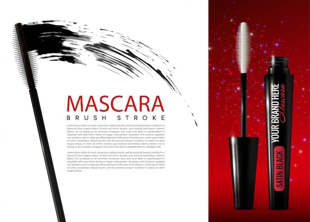 Realistische mascara cosmetische advertentiesjabloon