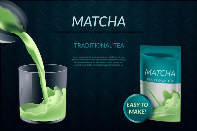 Realistische matcha-thee-advertentie in pakket