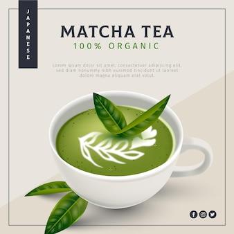 Realistische matcha-thee-advertentie