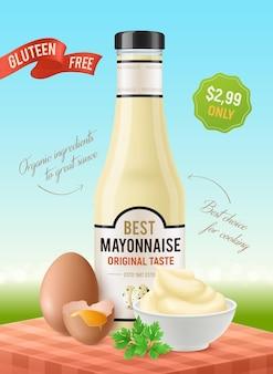 Realistische mayonaise verticale advertenties poster met tafel buiten landschap