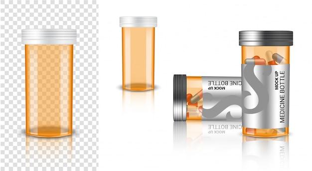 Realistische medicijnflessen mock-up