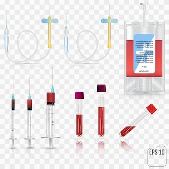 Realistische medische benodigdheden. voor bloedverzameling, kortom