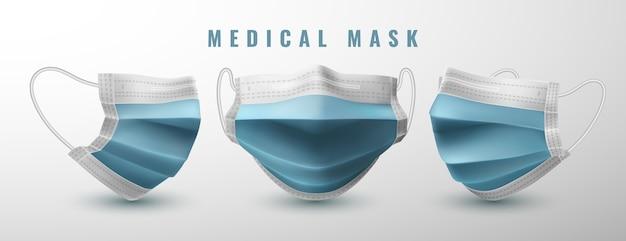 Realistische medische gezichtsmasker set