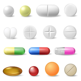 Realistische medische pillen. geneeskunde gezondheidszorg vitamines en antibiotica capsule, farmaceutische pijnstiller drugs iconen set. antibiotica medische farmaceutische, witte apotheek illustratie