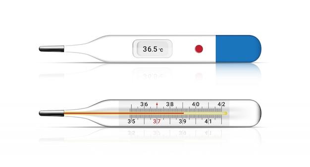 Realistische medische thermometer voor koortscontrole. ziekenhuis tool conceptontwerp