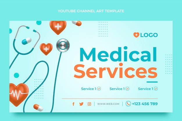 Realistische medische youtube-kanaalafbeeldingen