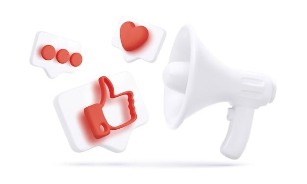Realistische megafoon en 3d vliegende duim omhoog, hart en chat pictogrammen geïsoleerd op een witte achtergrond. sociale media en digitale marketing. vector illustratie