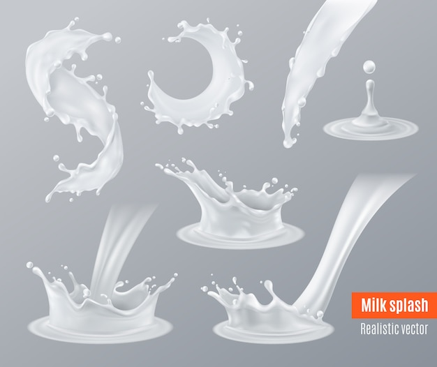 Realistische melk spatten set