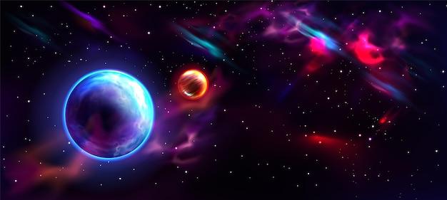 Realistische melkwegachtergrond met planeet