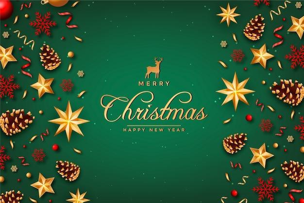 Realistische merry christmas achtergrond