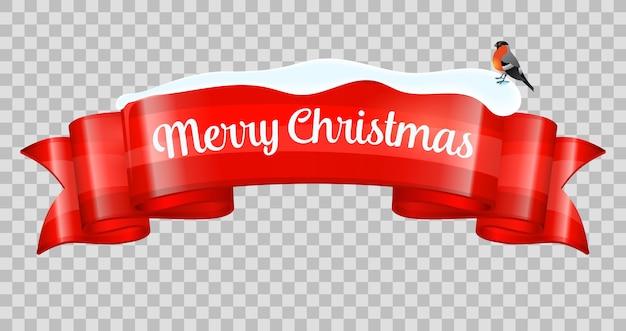 Realistische merry christmas-banner. nieuwjaar lint met goudvink en sneeuwjacht. op transparante achtergrond