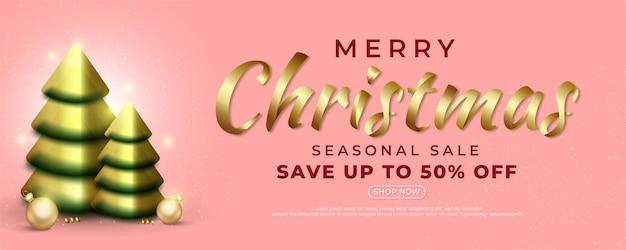 Realistische merry christmas sale banner tekst kalligrafische letters met kerst element decoratie