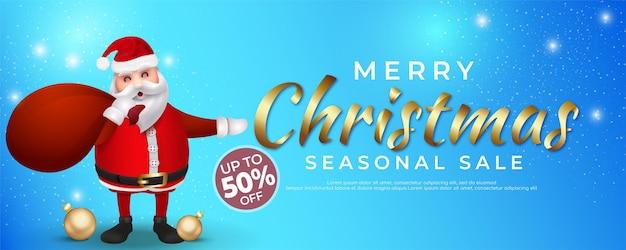 Realistische merry christmas sale banner tekst kalligrafische letters
