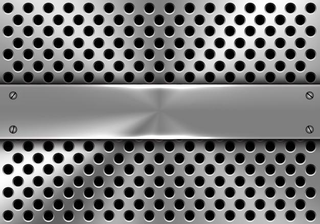 Realistische metalen banner op cirkel mesh achtergrond.