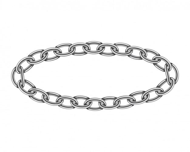 Realistische metalen cirkel frame ketting textuur. zilveren kleur ronde kettingen link geïsoleerd op wit