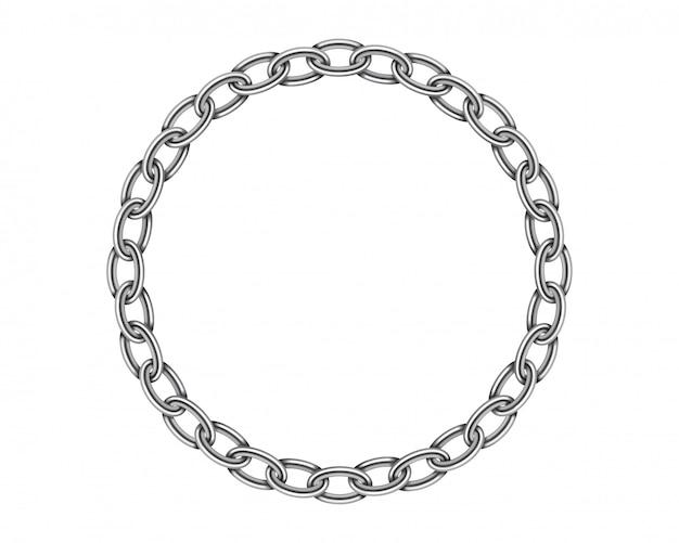 Realistische metalen cirkel frame ketting textuur