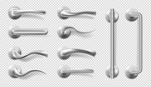 Realistische metalen deurgrepen en trekt