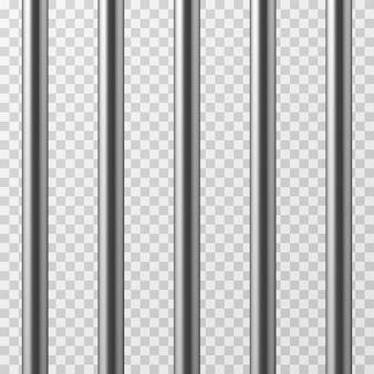 Realistische metalen gevangenisrepen. jailhouse raster geïsoleerde vectorillustratie