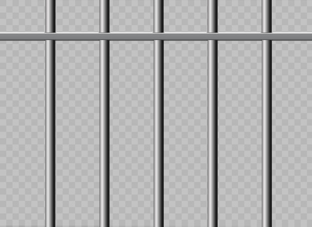 Realistische metalen gevangenisroosters. geïsoleerd op een transparante achtergrond.