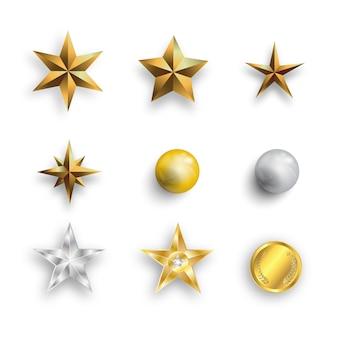 Realistische metalen gouden sterren, parels en gouden munten