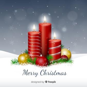 Realistische metalen kaarsen kerstmis achtergrond