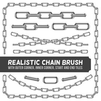 Realistische metalen kettingreeks, zilveren kettingen. industriële verbinding en metaalsterktelijnillustra