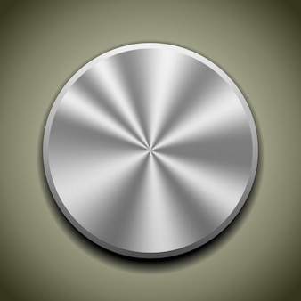 Realistische metalen knop met ronde verwerking, kegelreflectie