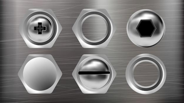 Realistische metalen kop van schroef en bout