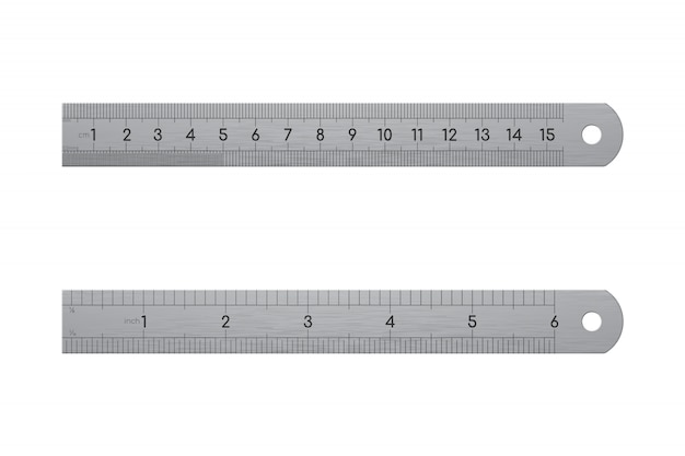 Realistische metalen liniaal, voor- en achteraanzicht geïsoleerd