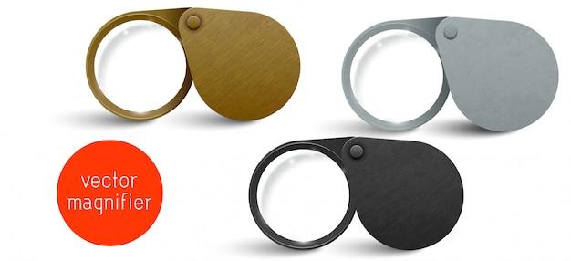 Realistische metalen moderne opvouwbare loepset. vector vergrootglas lens.