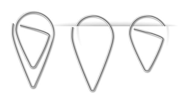 Realistische metalen paperclip