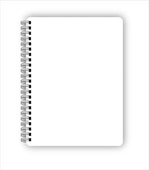 Realistische metalen spiraal vector lege notebook geïsoleerd op wit on